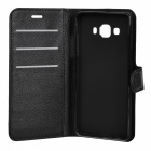 Litsi Pattern Flip open PU Case for Samsung Galaxy A5 - Musta