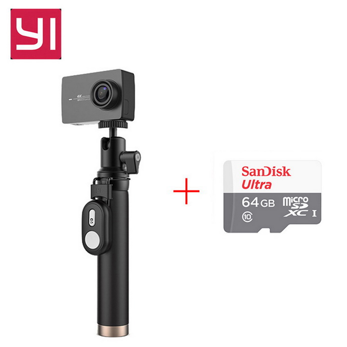 Original Xiaomi Yi II Wi-Fi 4K 2.19 Sports Camera+ 64GB TF CN VersionSport Cameras<br>Form  ColorBlack(Travel Kit&amp;Remote)+64GB class10 TF cardModelYAS.1616.CNShade Of ColorBlackMaterialABSQuantity1 DX.PCM.Model.AttributeModel.UnitImage SensorCMOSImage Sensor SizeOthers,IMX377Anti-ShakeYesFocal Distance2.68 DX.PCM.Model.AttributeModel.UnitFocusing RangeF = 2.68mmAperture2.8Wide Angle155Effective Pixels4KImagesJPEGStill Image Resolution12MPVideoMP4,Others,H.264Video Resolution4KVideo Frame Rate30Cycle RecordNoISONoExposure CompensationNoSupports Card TypeTFSupports Max. Capacity64 DX.PCM.Model.AttributeModel.UnitBuilt-in Memory / RAMNoInput InterfaceMicOutput InterfaceMicro USBLCD ScreenYesScreen TypeTFTScreen Size2.19 DX.PCM.Model.AttributeModel.UnitScreen Resolution169Battery Measured Capacity 1300 DX.PCM.Model.AttributeModel.UnitNominal Capacity1400 DX.PCM.Model.AttributeModel.UnitBattery included or notYesBattery Quantity1 DX.PCM.Model.AttributeModel.UnitSupported LanguagesSimplified ChinesePacking List1 * Xiaomi Yi II 4K Action camera1 * Bluetooth remote control1 * Selfie monopod 1 * Battery 1 * Data cable 20CM1 * Chinese use manual1*64GB class10 HI-SPEDD TF card<br>
