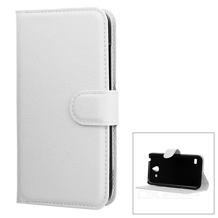 Lychee Pattern Protective PU Case for Huawei Ascend Y550 - White
