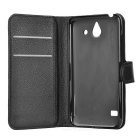 Lychee Pattern Protective PU Case for Huawei Ascend Y550 - Black
