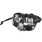 Fashionable Retro Skeleton Decorated Bracelet - Black + Silver