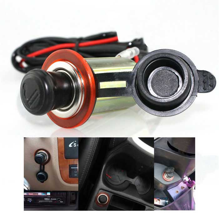 Waterproof DIY Car Cigarette Lighter Power Plug for 12V Motorcycle