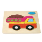 LKW-Shaped Puzzle Wooden Blocks Cartoon Spielzeug - Gelb