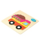 Camion en forme Puzzle Blocs en bois Toy Cartoon - Jaune
