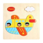 Plane Shaped Puzzle Wooden Blocks Cartoon Toy - Yellow
