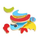 Cock Shaped Puzzle Wooden Blocks Cartoon Toy - Yellow