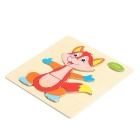 Fox Shaped Puzzle Wooden Blocks Cartoon Toy - Yellow