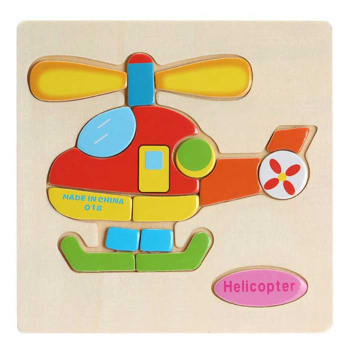 Helicopter Shaped Puzzle Wooden Blocks Cartoon Toy - Yellow