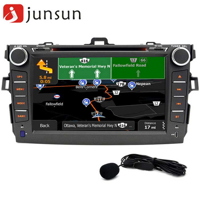 Junsun 8 Android 4.4 Car Radio Player + Australia Map - BlackCar DVD Players<br>Form  ColorBlack / AustraliaModelJUNSUN R168-ToyotaQuantity1 DX.PCM.Model.AttributeModel.UnitMaterialCompositesStyle2 Din In-DashFunctionGPS,Dual Zone,Subwoofer Output,Radio,AV-IN,Steering Wheel ControlCompatible MakeOthers,ToyotaCompatible Car ModelToyota corolla 2007 2008 2009 2010 2011Compatible Year2007,2008,2009,2010,2011Screen Size8.0 inchesScreen Resolution1024 * 600Touch Screen TypeYesDetachable PanelNoBrightness ControlYesMenu LanguageEnglish,French,German,Italian,Spanish,Portuguese,Russian,Polish,Greek,Danish,Norwegian,Dutch,Arabic,Turkish,Japanese,Korean,Malay,Slovak,Czech,Greek,Romanian,Swedish,Finnish,Chinese Simplified,Chinese Traditional,BulgarianCPU Processor1.6GHZSupport MapIGO,Route66,TOMTOM,Garmin,SygicMain FrequencyOthers,16 DX.PCM.Model.AttributeModel.UnitStore CapacityOthers,16 DX.PCM.Model.AttributeModel.UnitMemory Card SlotStandard TF CardVoice Guidance CruiseYesGPS Dual ZoneYesOperating SystemOthers,Android 4.4Audio FormatsMP3,WMA,APE,FLAC,OGG,AC3Video FormatsRM,RMVB,AVI,DIVX,MKV,MOV,HDMOV,MP4,M4V,PMP,AVC,FLV,VOB,MPG,DAT,MPEG,H.264,MPEG1,MPEG2,MPEG4,WMVPicture FormatsJPEG,BMP,PNG,GIF,TIFFStation Preset Qty.30Support RDSNoRadio Response BandwidthAM: 520KHz-1700KHz,FM: 87MHz-110MHzRDSYesRadio TunerAM,FMBuilt-in MicrophoneYesBluetooth FunctionReceived Call,Dialled Call,Missed CallBluetooth VersionBluetooth V4.0Video OutputPAL,NTSC,HDMIAmplifier Peak Power4*45 DX.PCM.Model.AttributeModel.UnitAudio ModeNatural,Rock,Jazz,Classical,Live,Dancing,PopularAudio Input2 channelsAudio  Output2 ChannelsRearview Camera InputYesExternal Memory Max. Support32 DX.PCM.Model.AttributeModel.UnitVideo Input2 channelsVideo Output2 channelsWorking Voltage   12 DX.PCM.Model.AttributeModel.UnitWorking Temperature+60~35 DX.PCM.Model.AttributeModel.UnitStorage Temperature+30~20CPacking List1 * Host1 * Power cords (24cm)1 * usb adapter cable (15cm)1 * Remote Control (requires a button battery