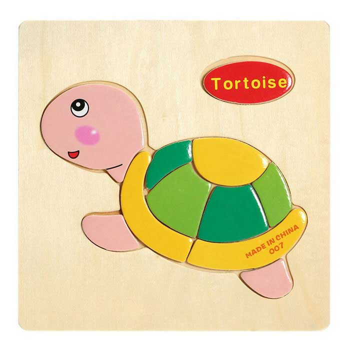 Tortoise Shaped Puzzle Wooden Blocks Cartoon Toy - Yellow