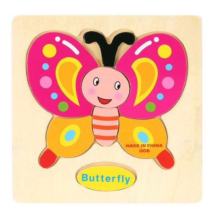 En forme de papillon Puzzle blocs en bois Toy Cartoon - Jaune