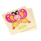 Butterfly Shaped Puzzle Wooden Blocks Cartoon Toy - Yellow