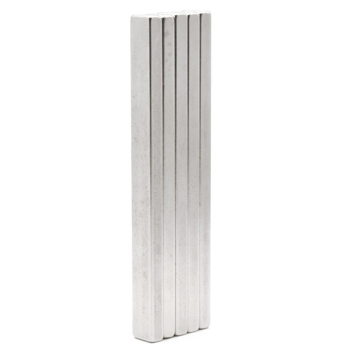 100 * 10 * 5 Rectangular NdFeB Magnetic Stripes - Silver (5PCS)