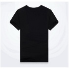 J1081 3D Printing Round-Neck Sweat Absorption T-shirt - Black (XL)