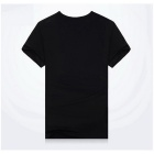 J1151 3D Printing Round-Neck Sweat Absorption T-shirt - Black (XXL)