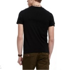 J1151 3D Printing Round-Neck Sweat Absorption T-shirt - Black (XL)