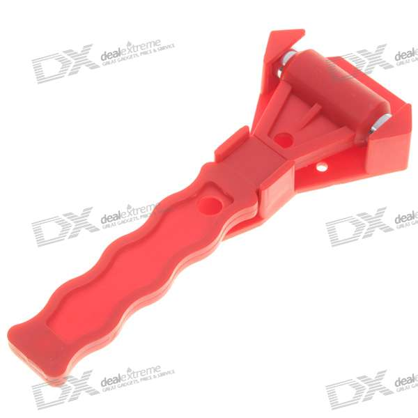 Dual-Head Car Emergency Safety Escape Pointed Hammer with Base - Red