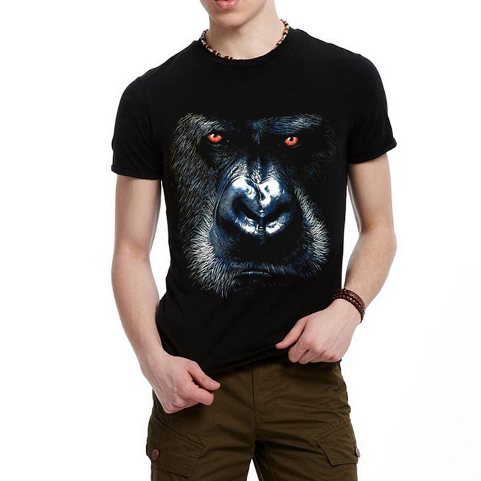J1151 Men's 3D Printing Round-Neck Sweat Absorption T-shirt - Black(S)
