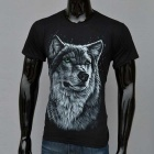 Outdoor Sports 3D Wolf in Snow Pattern Cotton Short-Sleeve T-shirt (S)