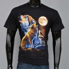 Outdoor Sports 3D Moon Night Wolves Pattern Cotton Short-Sleeve T-shirt (L)