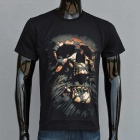 Outdoor Sports 3D Shouting Skull Pattern Cotton Short-Sleeve T-shirt (M)