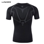 Lingsai Men's Quick-Dry Short-Sleeved T-Shirt - Black (L)