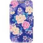 Color Floral Leaf Pattern Protective Full Body Case with Stand / Card Slots