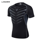 Lingsai Men's Quick-Dry Short-Sleeved T-Shirt - Black (XL)