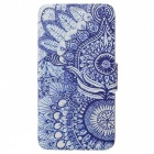 Retro Sunflower Eye Cartoon Pattern Protective Full Body Case with Stand / Card Slots - Blue + White