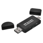 Cwxuan Type C / Micro USB/ USB 2.0 to SD/TF Card Reader - Black