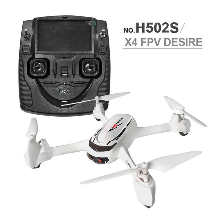 Hubsan X4 H502S 5.8G FPV With 720P HD Camera GPS Altitude Mode RCDroneR/C Airplanes&amp;Quadcopters<br>Form  ColorWhiteModelH502SMaterialPlasticQuantity1 DX.PCM.Model.AttributeModel.UnitShade Of ColorWhiteGyroscopeYesChannels Quanlity4 DX.PCM.Model.AttributeModel.UnitFunctionUp,Down,Left,Right,Forward,BackwardRemote TypeRadio ControlRemote control frequency2.4GHzRemote Control Range100~300 DX.PCM.Model.AttributeModel.UnitSuitable Age 12-15 years,Grown upsCameraYesCamera PixelOthers,720PLamp YesBattery TypeLi-polymer battery,Others,7.4V 610mAhBattery Capacity610 DX.PCM.Model.AttributeModel.UnitCharging Time30 DX.PCM.Model.AttributeModel.UnitWorking Time12~13 DX.PCM.Model.AttributeModel.UnitRemote Controller Battery TypeAA,Others,not included)Remote Controller Battery Number4Remote Control TypeIncludedModelMode 2 (Left Throttle Hand)Packing List1 * RC Quadcopter1 * Transmitter1 * 7.4V 610mAh Li-Po Battery1 * USB Cable (30cm)4 * Spare Propeller1 * Screwdriver1 * English Manual<br>