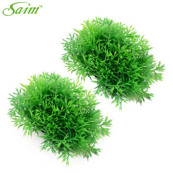 Saim Decoration Spherical Shaped Aquarium Grasses - Green + Black