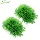 Plastic + Glass Resin Realistic Grasses Decoration for Pet Fish Zone (2 PCS)
