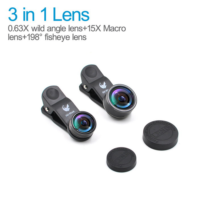 Oldshark Fish Eye + Wide-Angle + Lens Macro para iPhone & More - Black