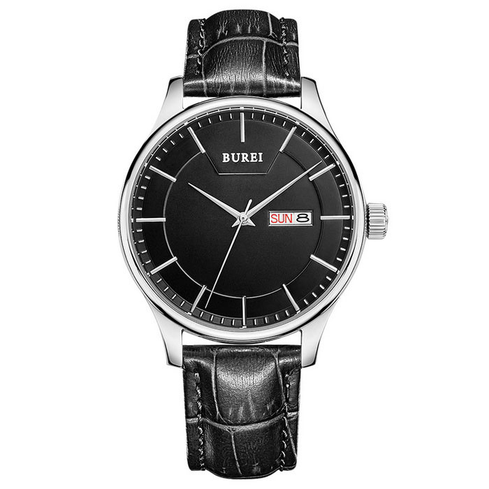 BUREI 700705 Mens Fashion Quartz Analog Wrist Watch w/ CalendarQuartz Watches<br>Form Color Black-faced black belt 700705Model700705Quantity1 DX.PCM.Model.AttributeModel.UnitShade Of ColorBlackCasing MaterialStainless steelWristband MaterialGenuine LeatherSuitable forAdultsGenderMenStyleWrist WatchTypeFashion watchesDisplayAnalogMovementQuartzDisplay Format12 hour formatWater ResistantFor daily wear. Suitable for everyday use. Wearable while water is being splashed but not under any pressure.Dial Diameter4.2 DX.PCM.Model.AttributeModel.UnitDial Thickness0.95 DX.PCM.Model.AttributeModel.UnitWristband Length23.5 DX.PCM.Model.AttributeModel.UnitBand Width1.8 DX.PCM.Model.AttributeModel.UnitBattery1*S377Packing List1 * Watch<br>
