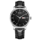 Business / Casual Leather Belt Stainless Steel Case Watch - Black (1 * S377)