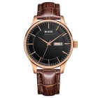 Business / Casual Leather Belt Stainless Steel Case Watch - Rose Gold + Black + Brown (1 * S377)