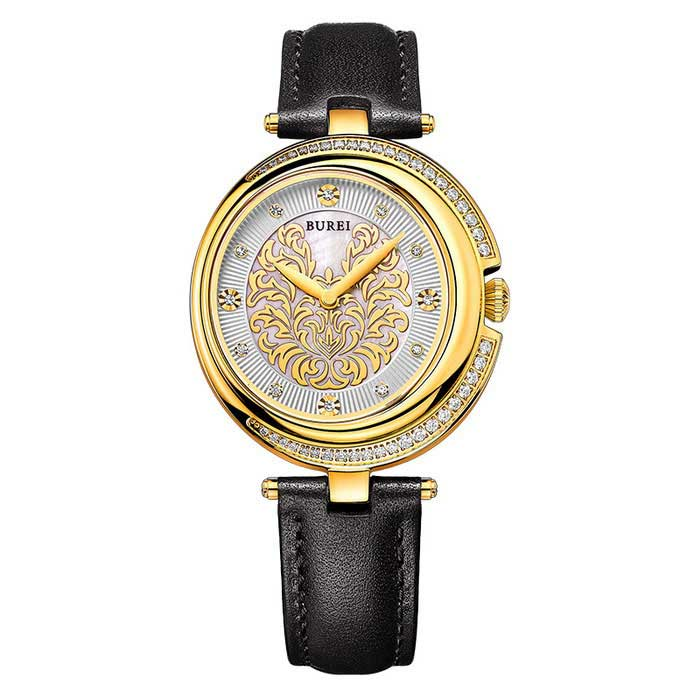 BUREI 700202 Womens Rhinestones Decorated Quartz Analog Wrist WatchQuartz Watches<br>Form  ColorBlack Belt Golden case 700202Model700202Quantity1 DX.PCM.Model.AttributeModel.UnitShade Of ColorBlackCasing Materialstainless steelWristband MaterialGenuine LeatherSuitable forAdultsGenderWomenStyleWrist WatchTypeFashion watchesDisplayAnalogMovementQuartzDisplay Format12 hour formatWater ResistantWater Resistant 3 ATM or 30 m. Suitable for everyday use. Splash/rain resistant. Not suitable for showering, bathing, swimming, snorkelling, water related work and fishing.Dial Diameter3.9 DX.PCM.Model.AttributeModel.UnitDial Thickness0.77 DX.PCM.Model.AttributeModel.UnitWristband Length18.9 DX.PCM.Model.AttributeModel.UnitBand Width1.6 DX.PCM.Model.AttributeModel.UnitBattery1*S377Packing List1 * Watch<br>