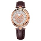 Fashion Leather Belt Stainless Steel Case Sapphire Mirror Watch - Coffee + Rose Gold (1 * S377)