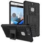 Shockproof Rubber Stand Combo Cover Case For Huawei Ascend P9 - Black