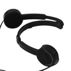 Folding Wired Headband Headphones with Microphone for Children - Black