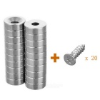 D12 * 4mm-4mm Circular NdFeB Magnets w/ Sink Hole - Silver (20PCS)