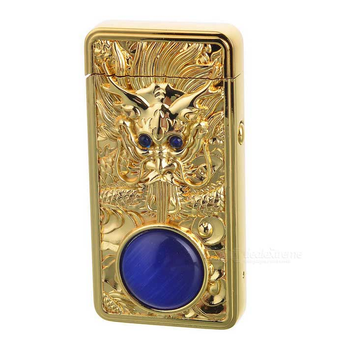 3D Dragon Head Pattern + Agate USB Rechargeable Lighter - Gold + BlueOther Lighters<br>Form  ColorGolden + BlueMaterialZinc alloyQuantity1 DX.PCM.Model.AttributeModel.UnitShade Of ColorGoldTypeUSBFlame ColorPurpleWindproofYesPower SupplyLi-ion batteryCharging Time0.5~1 DX.PCM.Model.AttributeModel.UnitOther FeaturesBuilt-in battery: 600mAh, 3.7VPacking List1 * Lighter1 * USB cable (20cm)<br>