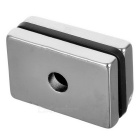 28 * 18 * 4mm Rectangular NdFeB Magnets w/ Sink Hole - Silver (2PCS)
