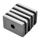 28 * 18 * 4mm Rectangular NdFeB Magnets w/ Sink Hole - Silver (5PCS)