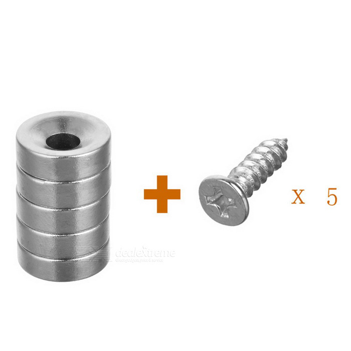 D12 * 4mm-4mm Circular NdFeB Magnets w/ Sink Hole - Silver (5PCS)
