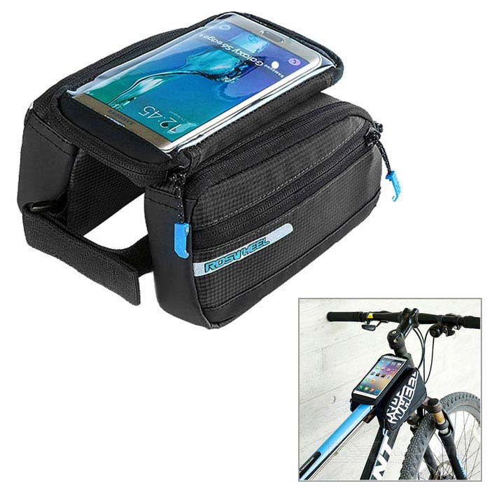 "ROSWHEEL Bike Top Tube Bag w/ 5.5"" Phone Case - Black (2.8L)"