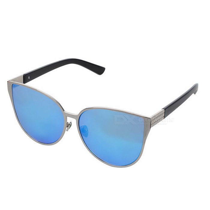 Trendy Cat Eyes Style UV400 Protection Sunglasses - Silver + Blue