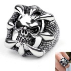 Punk Skull Talons Lucky Ring Stainless Steel for Men - Silver