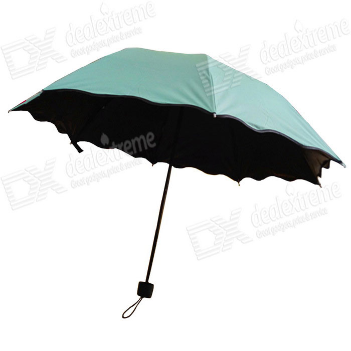 Folding manual Sol / Chuva Anti-UV Umbrella Parasol Exposição de Flores - verde